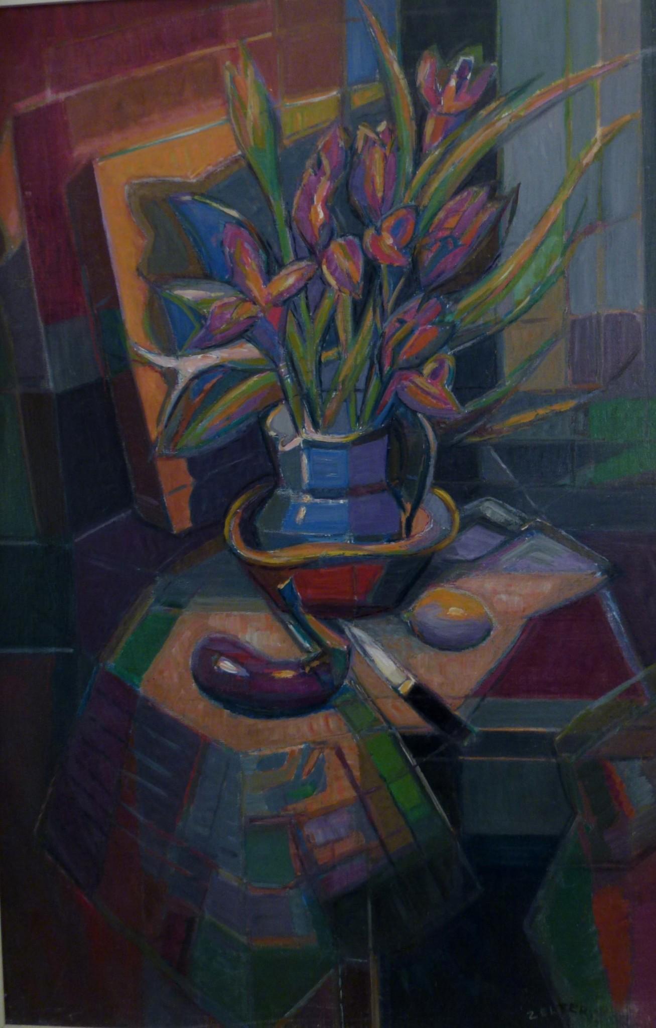 Peinture cubiste de Georges Zelter,huile sur toile,nature morte à l'aubergine, grand format