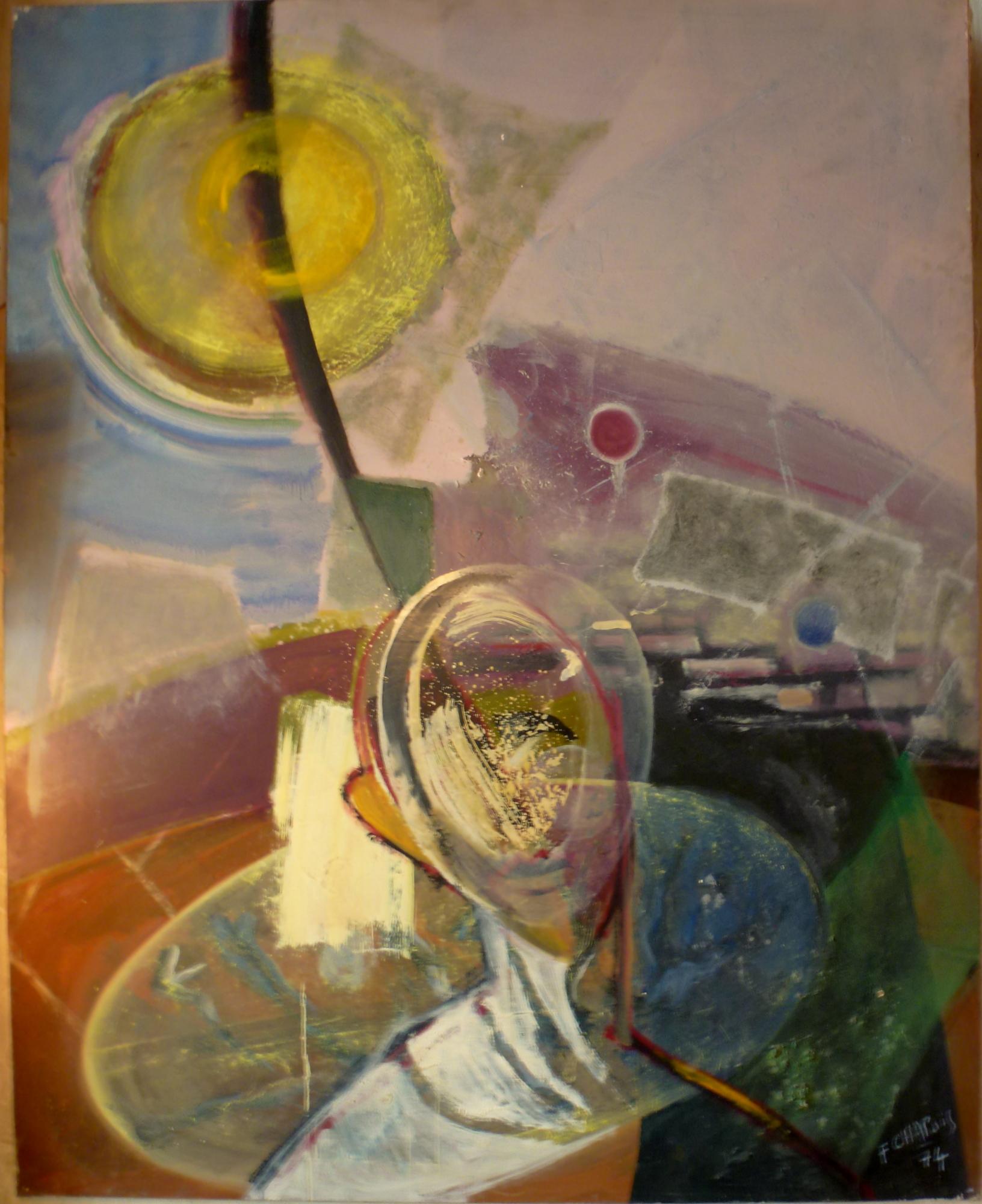 Grande peinture sur toile signée Chapuis 74