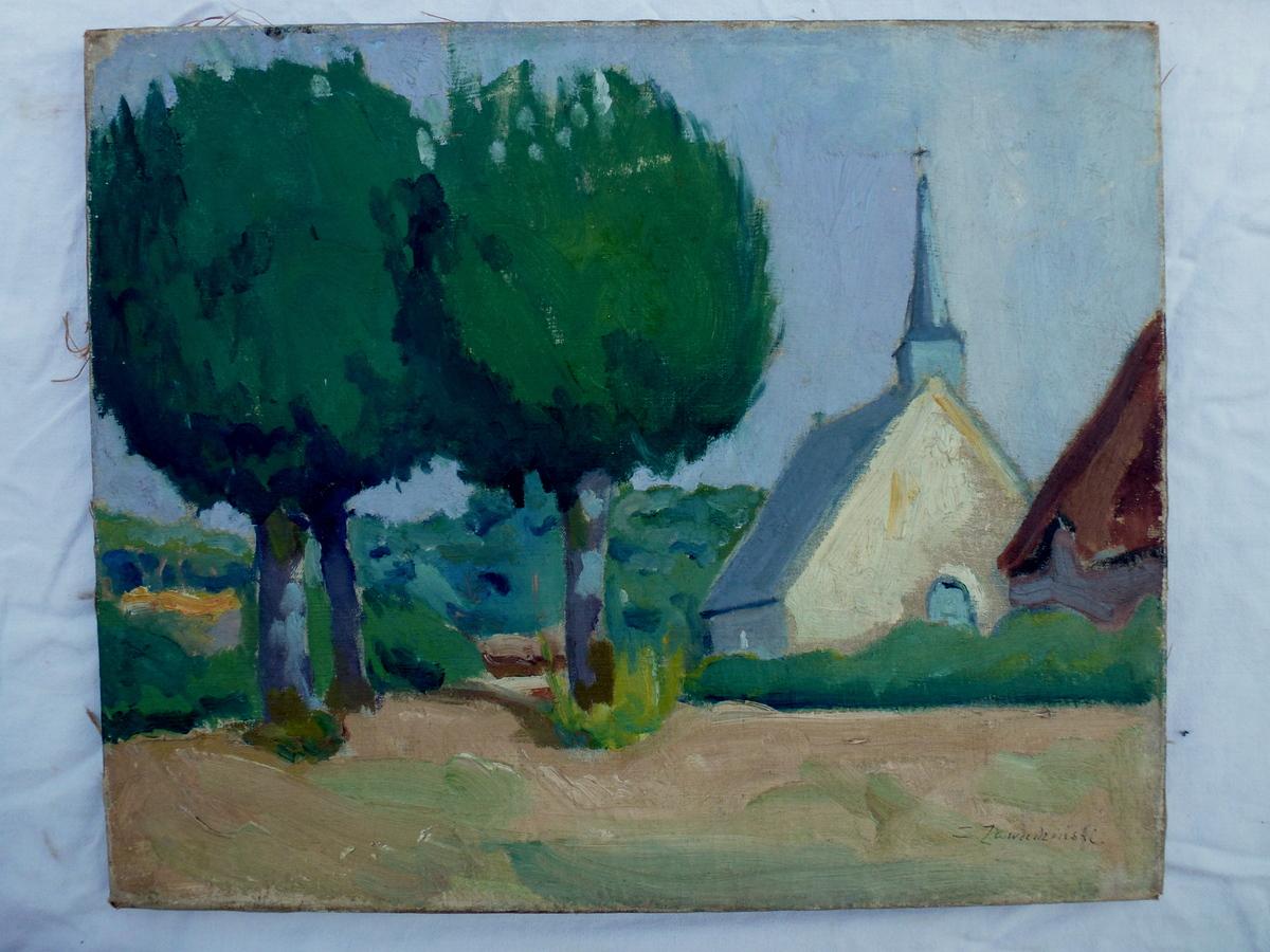 l'église par Czeslaw Zawadzinski, peinture du 20ième siècle, pologne