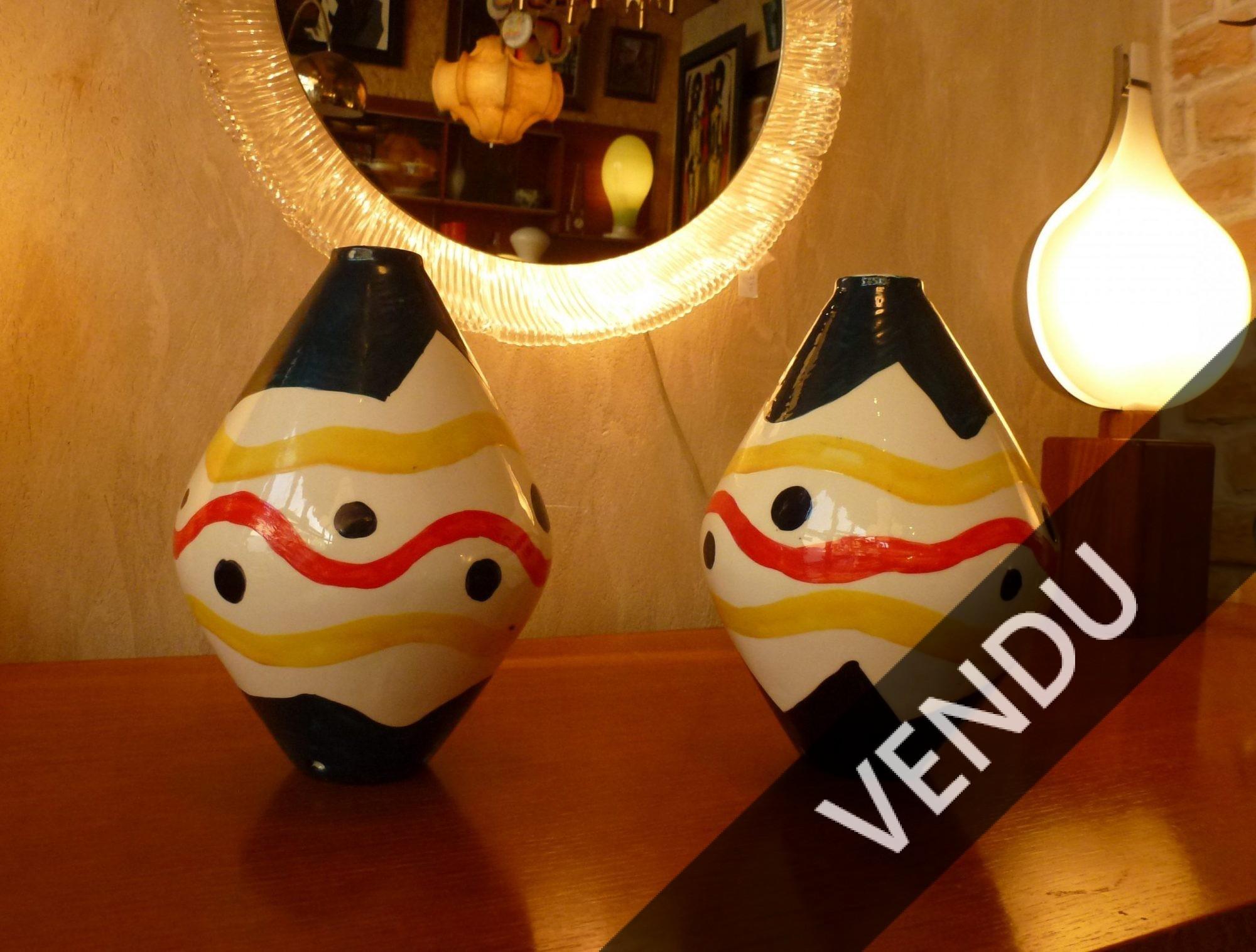 Paire de lampes du céramiste de Fernand Leger, roland Brice à Biot