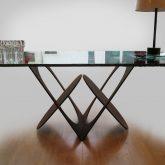 Table pied fonte, plateau verre