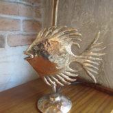 Lampe poisson en bronze doré signée Guy