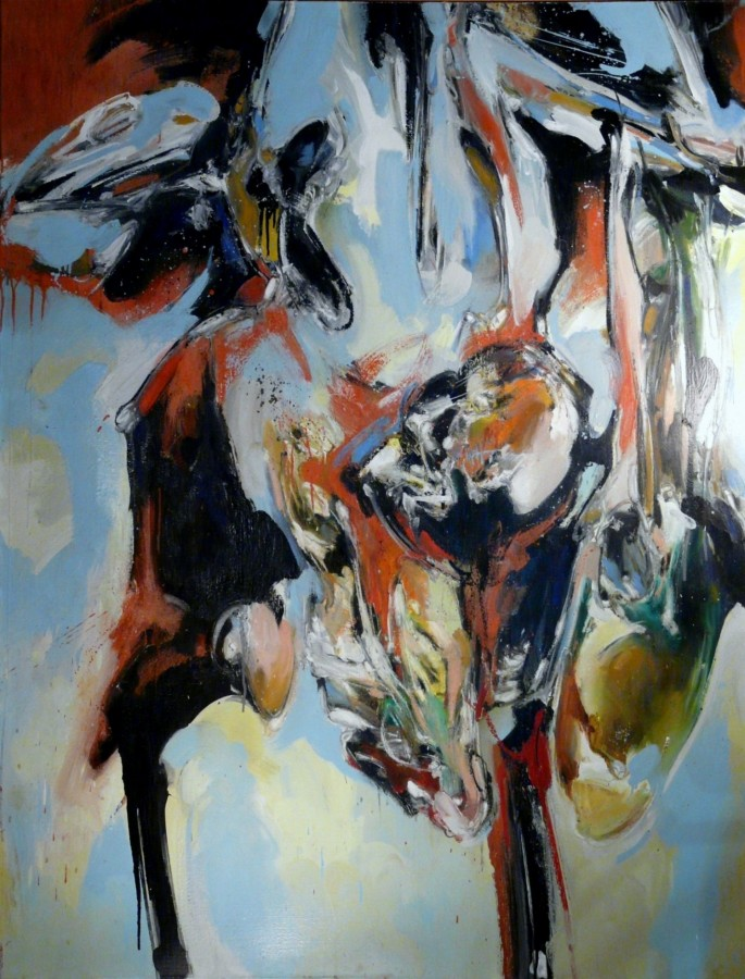 peinture de Laurent Dubé, artiste contemporain, grand coloriste ,composition expressionniste