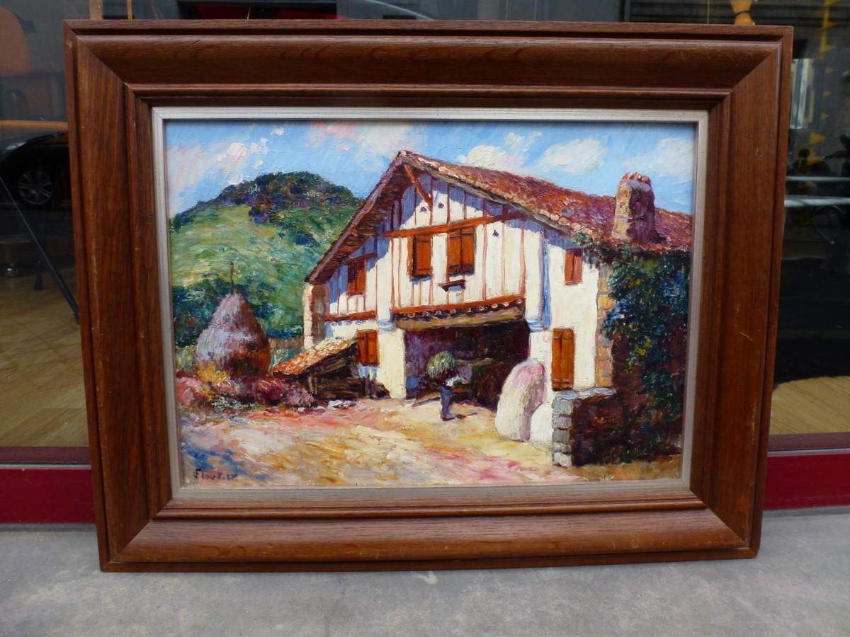 Louis Floutier, huile sur toile, oeuvre lumineuse, témoin de l'âme basque et de sa région