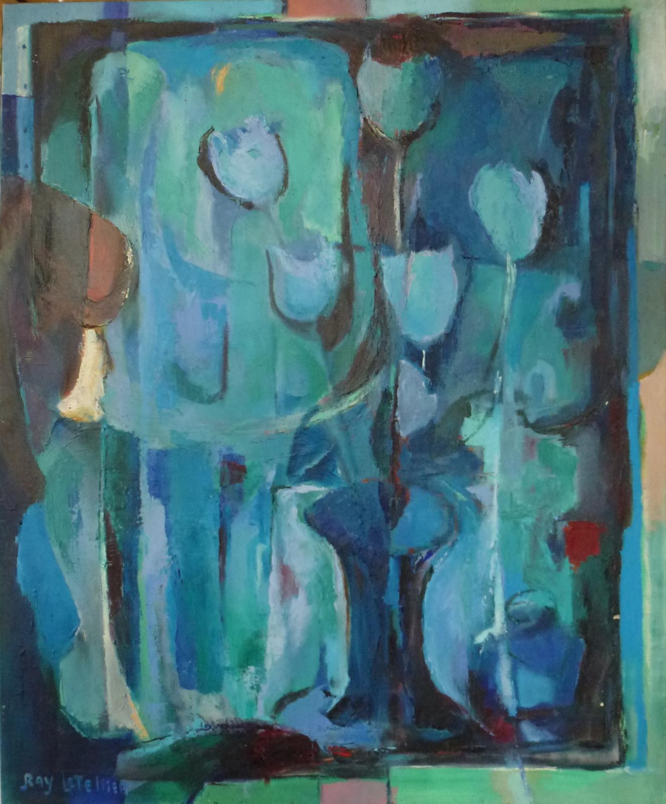 Huie sur toile de Ray Letellier, les tulipes.